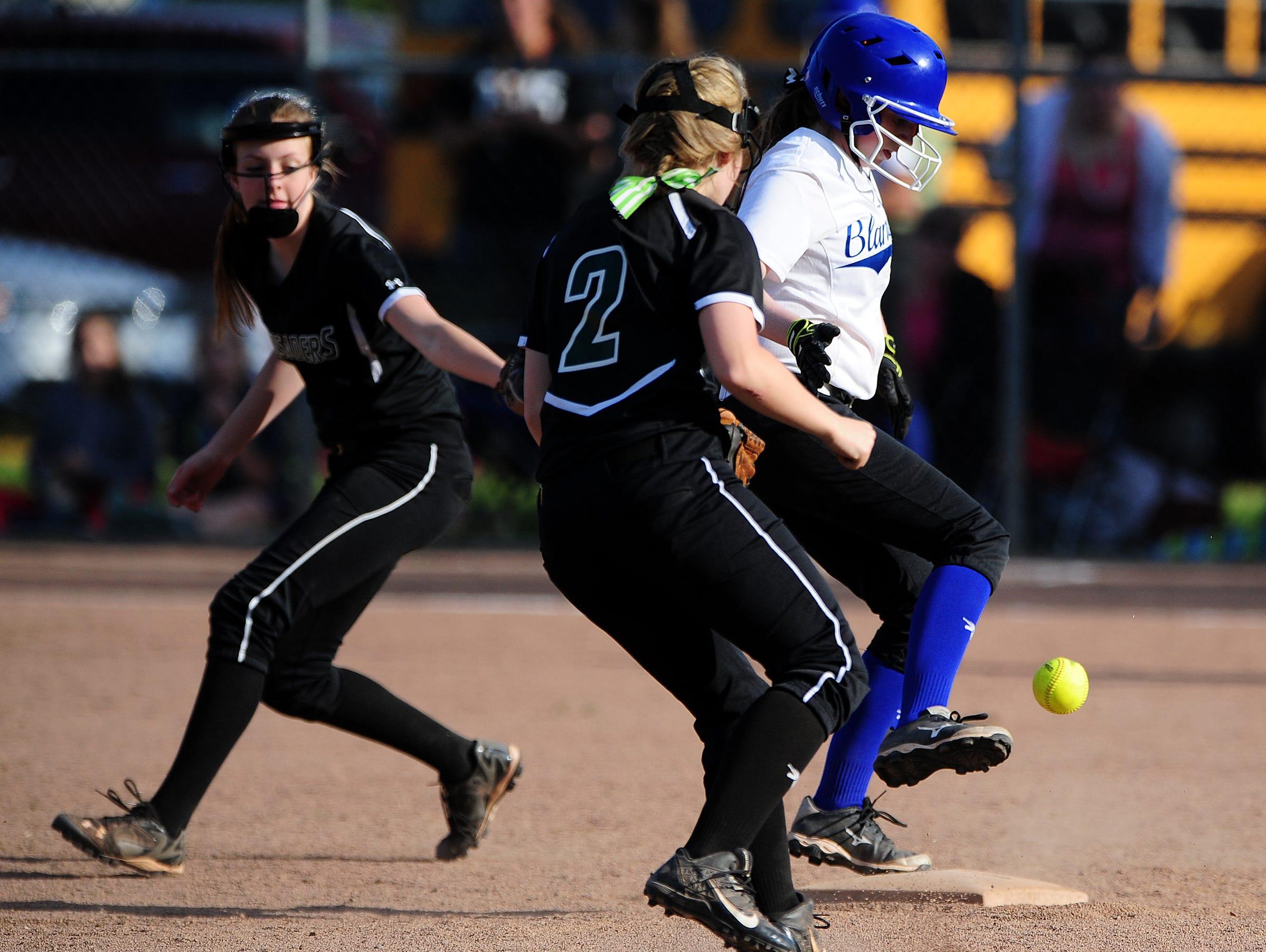 Blanchet's Maddie Fessler makes it safely to second base against Salem Academy.