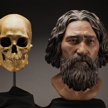 A reconstruction based on the skeleton of Kennewick Man found by college students along the Columbia River in 1996.