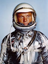 John Glenn in his Mercury flight suit.