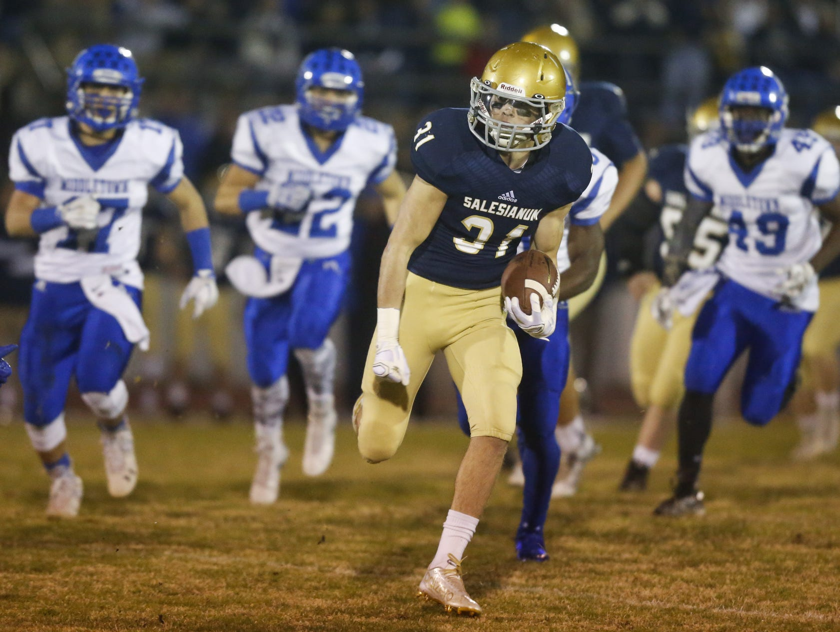Salesianum's Zachary Jarome sets up the first Sals touchdown with a 55-yard run in the first quarter against Middletown in a DIAA Division I state tournament semifinal at Baynard Stadium Friday.