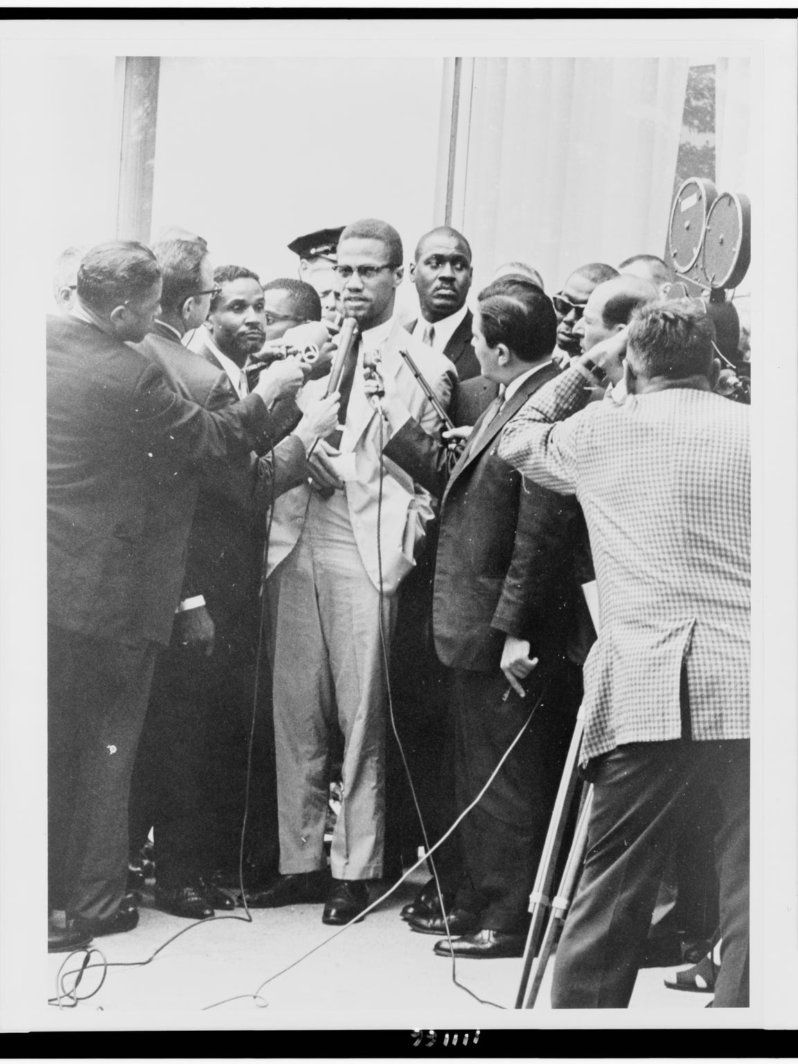 Malcolm X with reporters in 'I Am Not Your Negro,'