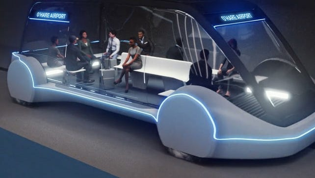 """A rendering of a """"skate"""" vehicle designed to carry passengers through Boring Company tunnels. This design, planned for a project connecting Chicago with O'Hare Airport, resembles the type of vehicle planned for a Los Angeles test tunnel scheduled to open in December."""