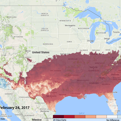 See where spring is running 20 days early