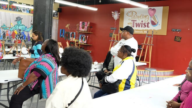 The Buy Black bus tour stopped at Painting with a Twist in downtown Detroit on Saturday during a day-long tour of black owned shops in the city.