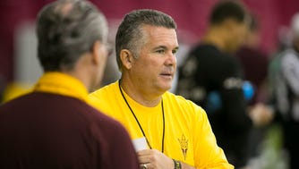 ASU head football coach Todd Graham looks on during an ASU football practice at the Verde Dickey Dome in Tempe on Friday, August, 19, 2016.