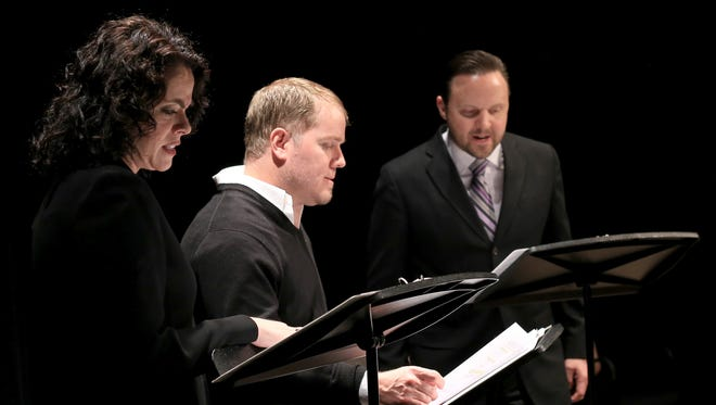"""Melanie Nelson, Jared Larkin and Joel Thomas participate in a reading of """"The Process"""" by Sue Lange during the Second Act New Works Festival on Feb. 16 at Dixie State University's Eccles Black Box Theater."""