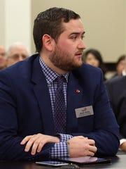 Aaron Vance, U of L student body president, testifies during committee meeting on U of L board.