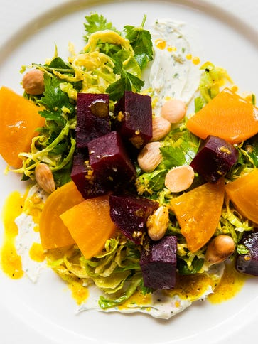 Daveed's beet salad with shaved brussels sprouts, herbed