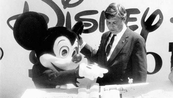 Florida Governor Bob Graham and Mickey Mouse in 1985