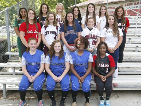 Front row, L-R: Cassidy Mehr (Godby), Madison Gorman (Godby), Kyaira Brown (Godby), Tiffani Railey (NFC); Middle row, L-R: Jensen Strickland (Leon), Player of the Year Hope Smith (Madison County), Kayla Hussey (Wakulla), Bre NeSmith (Chiles), Kelly Horne (Aucilla Christian); Back row, L-R: Tahlia Snider (Lincoln), Taylor Rosier (Florida High), Shayne O'Connell (Chiles), Coach of the Year Becky Lauth (Aucilla Christian), Karli Woolington (Chiles), Pitcher of the Year Elizabeth Hightower (Aucilla Christian), Jackie Lee Wells (NFC)