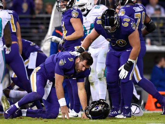 Baltimore Ravens quarterback Joe Flacco dealt with some injury issues in 2017. He appears healthy heading into 2018. AP FILE PHOTO