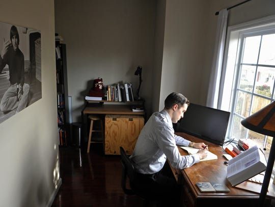Chase Geiser loves his new home office, where he can