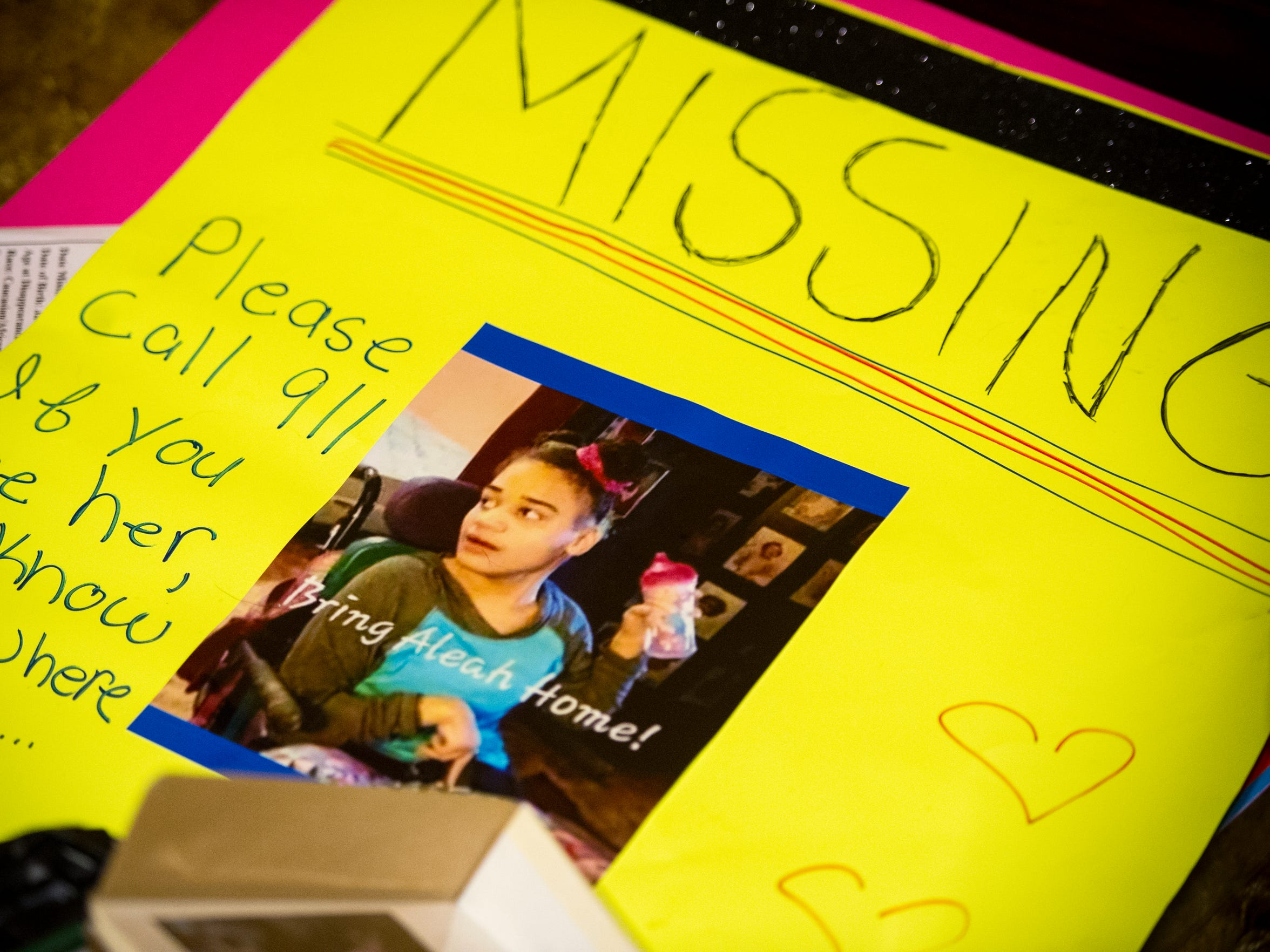 A sign for 19-year-old Aleah Beckerle sits in her home