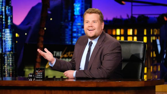 James Corden doing his hosting thang on 'The Late Late