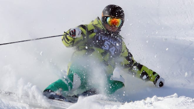 A skier descends Whiteface Mountain near Lake Placid.