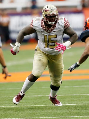 Florida State defensive end Mario Edwards Jr. in action against Syracuse during the second half of an NCAA college football game on Saturday, Oct. 11, 2014.