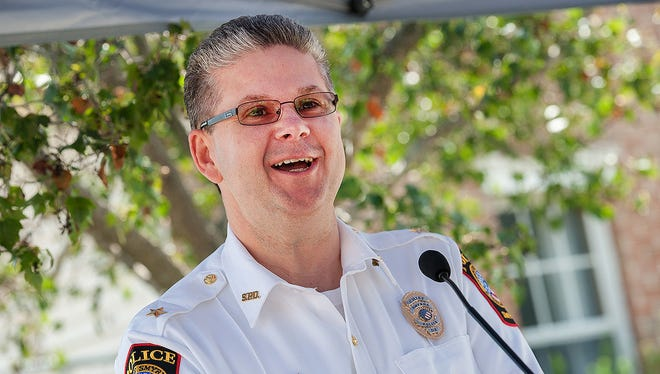Smyrna Police Chief Norman Wood speaks at the ground-breaking of its new police department building on Aug. 5, 2014, in Smyrna.