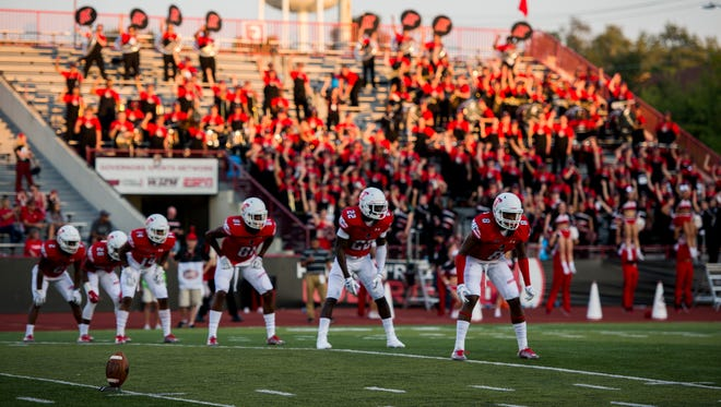 Austin Peay players line up before a kick to Morehead State during their home game on September 16.