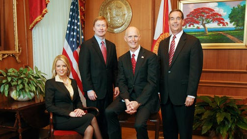 From left, Attorney General Pam Bondi, Agriculture Commissioner Adam Putnam, Gov. Rick Scott and Chief Financial Officer Jeff Atwater.