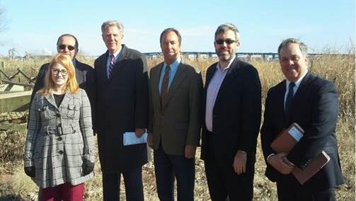 U.S. Rep.Frank PalloneJr. (third from left) was joined by officials at the Woodbridge waterfront Tuesday to call on Congress to pass the bipartisan Brownfields Enhancement, Economic Redevelopment and Reauthorization Act of 2017.