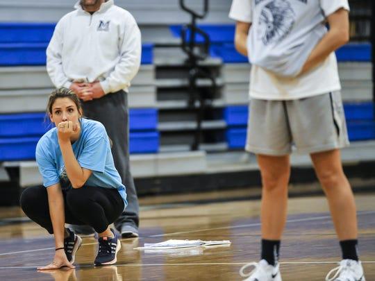 Manasquan girls head coach Lisa Kukoda looks on during basketball practice in Manasquan on Dec. 7, 2017.