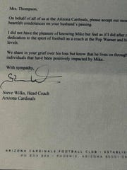 Cardinals head coach Steve Wilks wrote a letter of