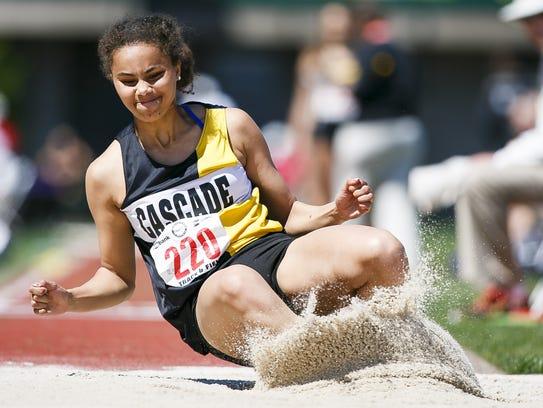 Cascade's Kalulu Ngaida competes in the triple jump