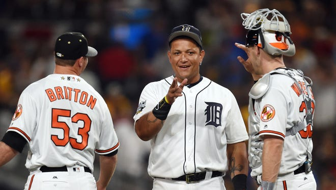 Miguel Cabrera celebrates with pitcher Zach Britton and catcher Matt Wieters (32) of the Baltimore Orioles after the 2016 MLB All Star Game at Petco Park Tuesday.