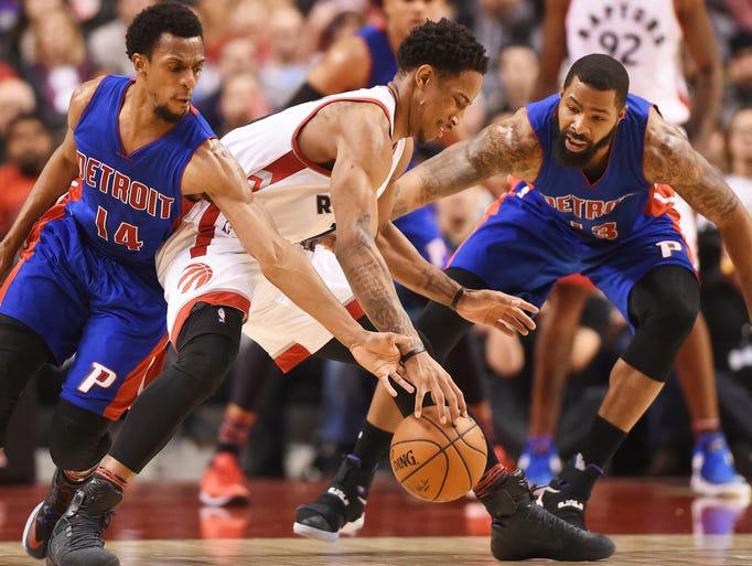 Toronto Raptors guard DeMar DeRozan (10) tries to protect