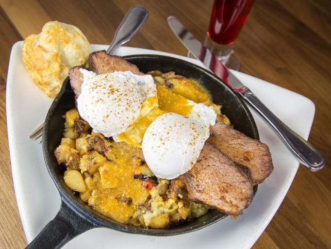 The smoked brisket and corn bread hash at The Hash