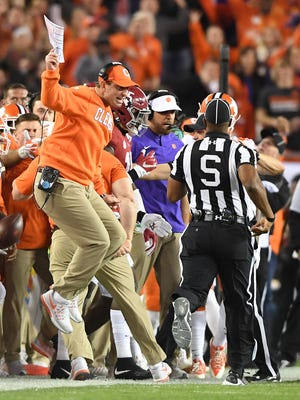Clemson coach Dabo Swinney reacts after as the Tigers play Alabama during the 1st quarter of the National Championship at Raymond James Stadium in Tampa on Monday, January 9, 2017.