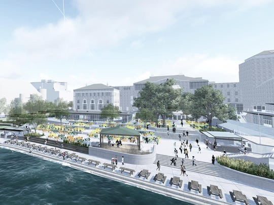 This illustration shows how seating close to Lake Mendota and the outdoor stage at Memorial Union Terrace will expand during the next year of construction at the University of Wisconsin-Madison.