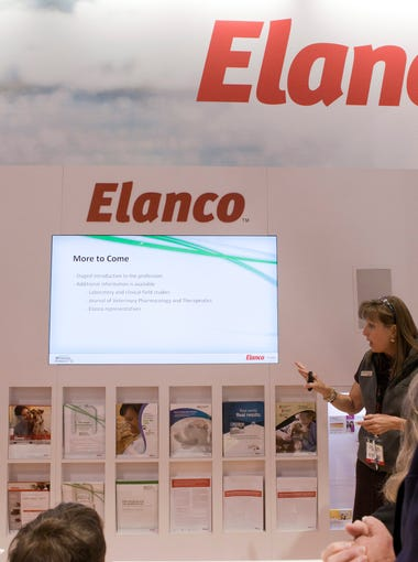 Lynda Green presents information about Elanco's new drug Recuvyra at the Elanco booth at the 2013 AVMA Annual Convention at McCormick Place in Chicago, Illinois on Saturday, July 21, 2013.
