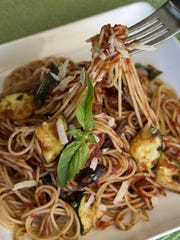 Angel Hair with Grilled Zucchini, Tomatoes and Olives from Robin Miller.