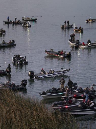 Bass anglers wait for the start of a FLW tournament, Febuary 9, 2018, at Lake Havasu State Park, Lake Havasu City, Arizona.