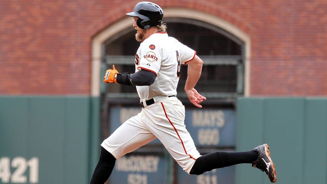 Hunter Pence, doubling in his second game back from injury, provides the Giants an intangible jolt.