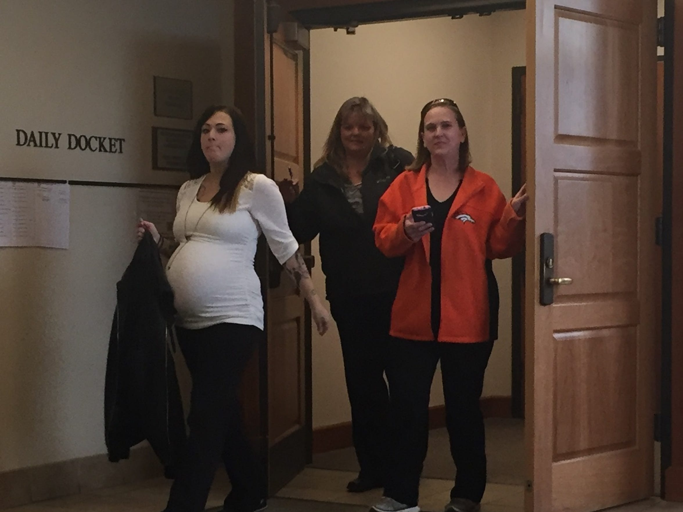 Alexa Coria, left, leaves court on Feb. 6