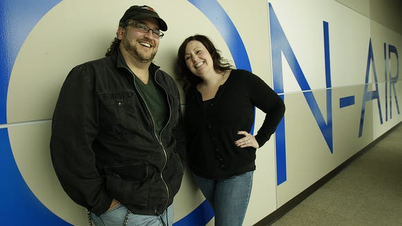 """96 Rock morning hosts Michael""""Fin"""" Walter and """"Mistress Bridget"""" in May 2012."""