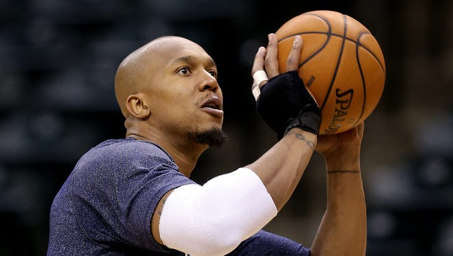 Indiana Pacers practice for their second game agains the Atlanta Hawks Monday, April 21, 2014, afternoon at Banker Life Fieldhouse. Here Pacers forward David West works on his shot.