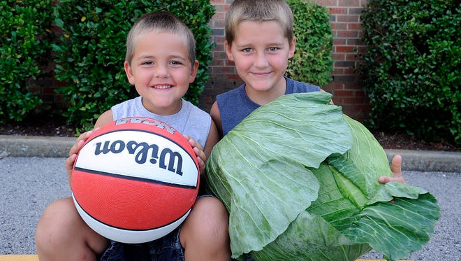 Brice Evans, 9, (right) holds a 16.75 pound cabbage while brother, Blake Evans, hold a basketball for comparison. Brice's grandfather, Bob Evans, helped raise the behemoth.