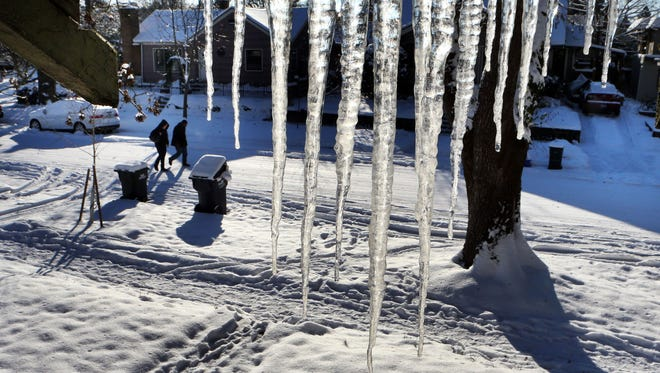This photo shows icicles in the Whiteaker neighborhood of Eugene, Ore., on Dec. 7, 2013.