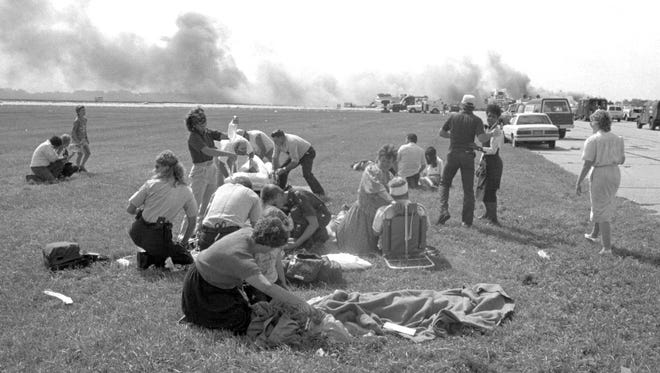Rescuers from surrounding communities and local authorities had 45 minutes after an engine exploded on United Airlines Flight 232 to get to the Sioux City airport before the plane crash-landed July 19, 1989.