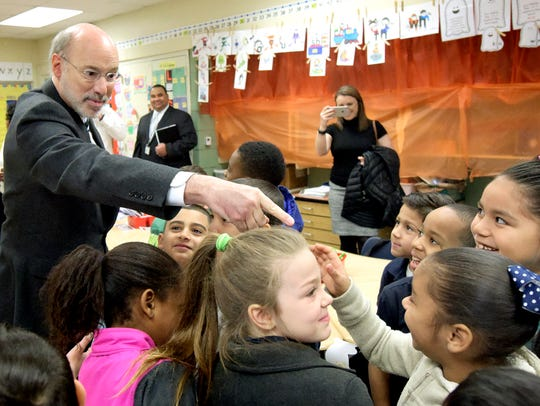Governor Tom Wolf greets Goode K-8 second-graders during