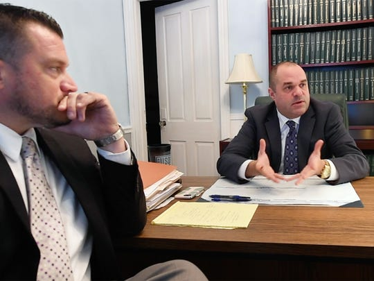 Ron Gross, left, and Jay Whittle, both criminal defense attorneys, talk about civil asset forfeiture in their York office.