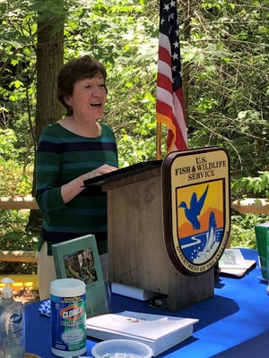 Sen. Susan Collins speaks during her visit to the Rachel Carson National Wildlife Refuge in Wells, Maine, on Friday, June 19.