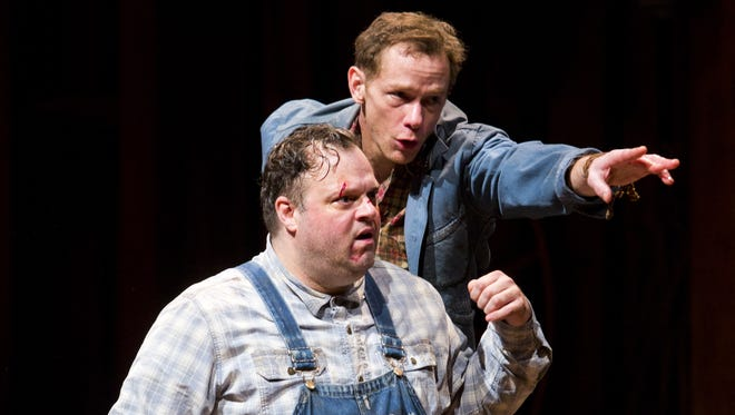 """Scott Greer (left) stars as Lennie and Jonathan Wainwright is George in Arizona Theatre Company's """"Of Mice and Men."""""""