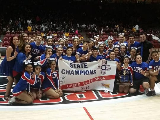 The Las Cruces High cheer won the Class 5A/6A co-ed state championship last weekend at The Pit in Albuquerque.