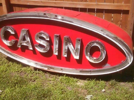 """The """"casino"""" sign salvaged from Pizza Inn by Shane"""