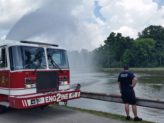 Fire departments aerate the water at Henry County Memorial