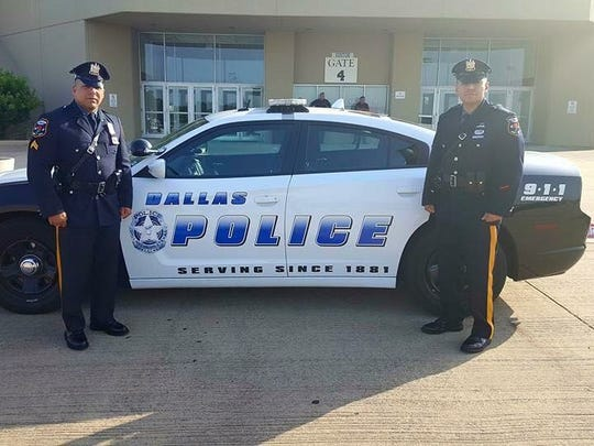 Cpl. Luis Goncalves and Patrolman Julian Morales attended the funeral of Officer Patricio Zamarripa, in Dallas, Texas